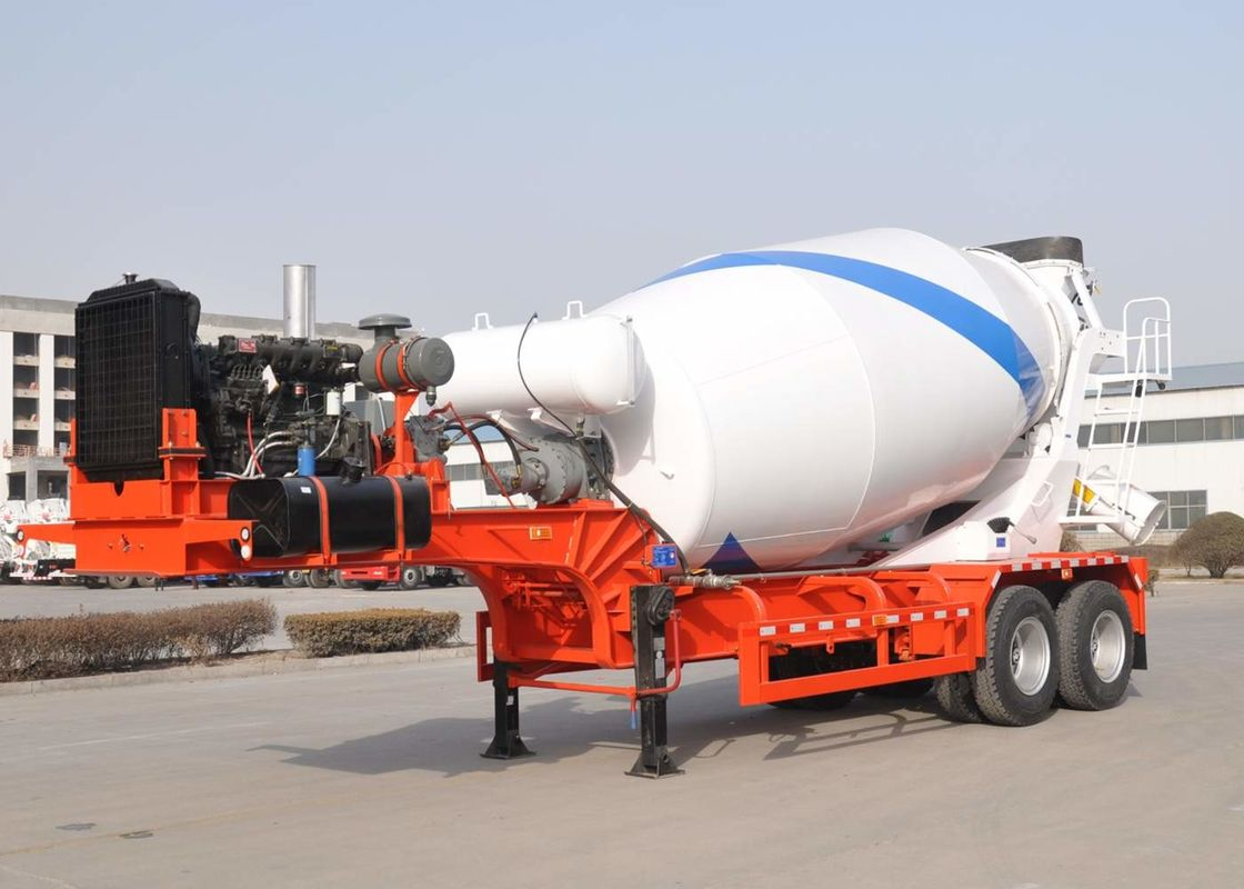Two Axles Bulk Cement Semi Trailer 12cbm Towing Mixer Tank Semi Mixer Trailer