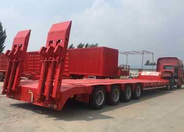 China Three Axle Extendable Low Bed Trailer , 40 FT Low Bed Trailer With Rigid Suspension factory