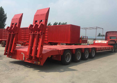 China Red 4 Axle Low Bed Trailer , Low Flatbed Semi Trailer Rated Loading 100 Tons factory