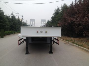 3 Axle 40/50/60 Ton Low Bed Trailer Truck , Flatbed Semi Trailer White Color