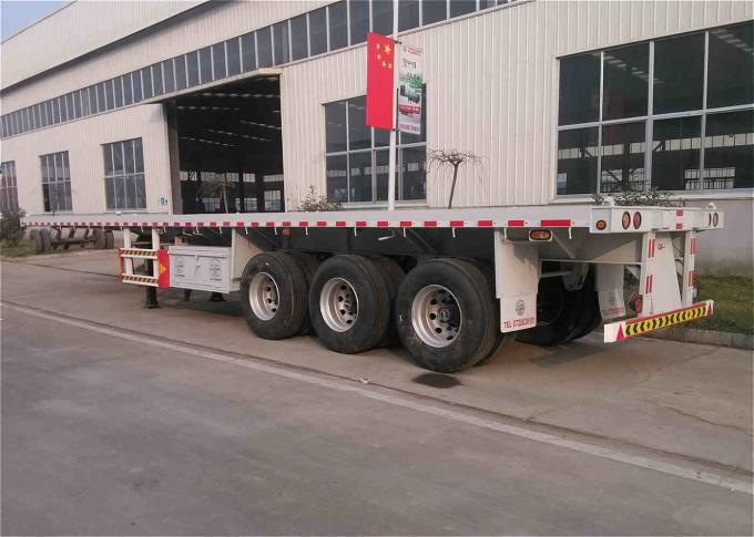 40 Feet Container Delivery Trailer , 3 Axle Flatbed Trailer ISO 9001 Approved