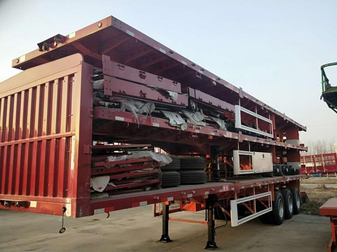 40 FT Low Bed Trailer Truck Three Axle 13000*3000*1650mm Size Color Customized